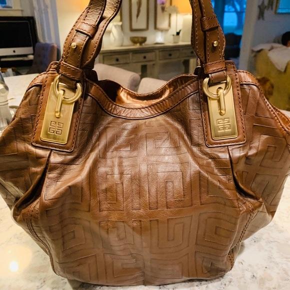 "Givenchy Handbags - GIVENCHY Brown Leather Hobo Bag Purse - 10""x12""."